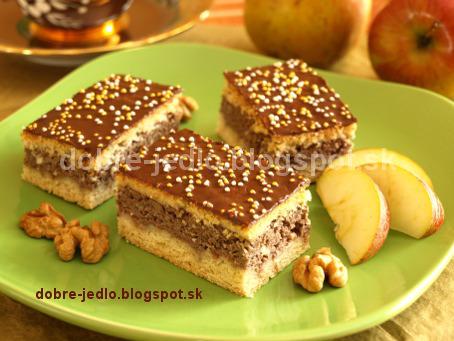 Krehké jablkovo-orechové rezy - recepty