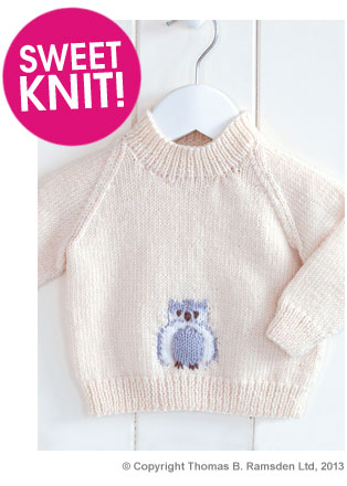 Free Knitting Pattern For Owl Sweater : Eight-by-Six: Free knitting patterns (owl sweater, wrap over booties, Rowan c...