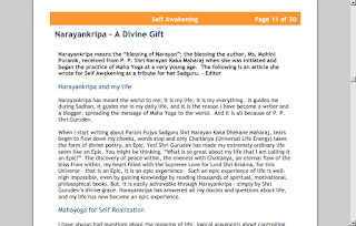 Image is a Screenshot of Article Narayankripa - A Divine Gift in Self Awakening Newsletter
