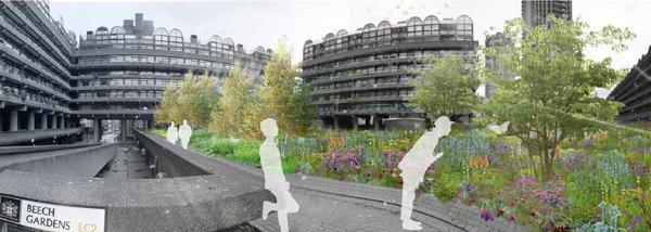el jardín de nigel dunnett en the barbican, londres. beech gardens