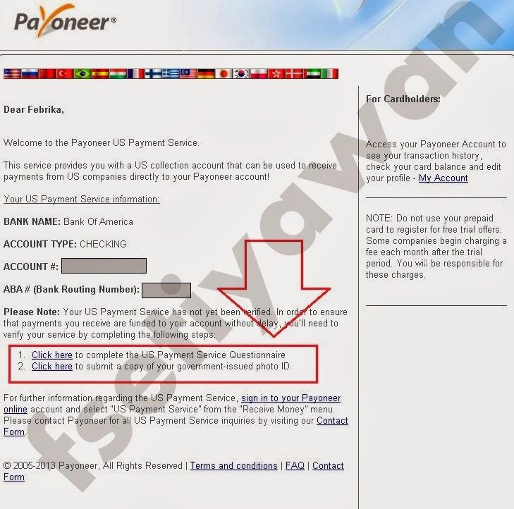 Informasi nama bank, tipe akun, nomor akun dan permintaan upload ID