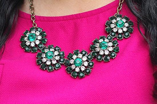 Green Flower Statement Necklace