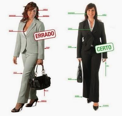 Errado e Certo sobre roupas femininas para entrevistas de emprego
