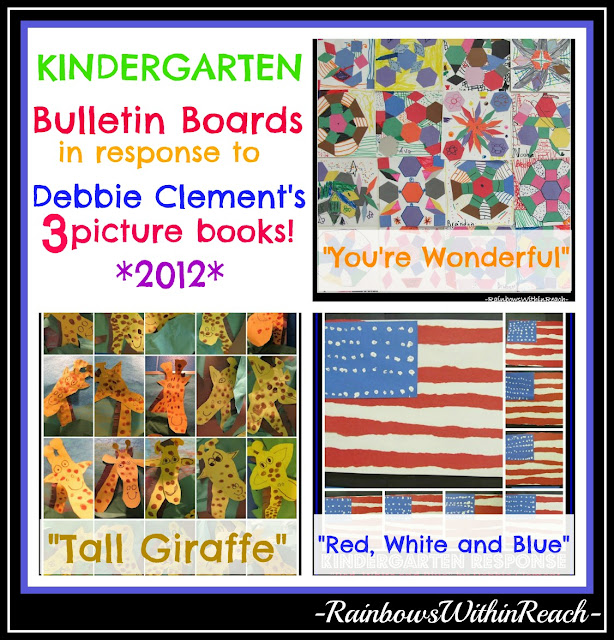 photo of: Kindergarten Bulletin Boards of Student Art in Response to Picture Books by Debbie Clement