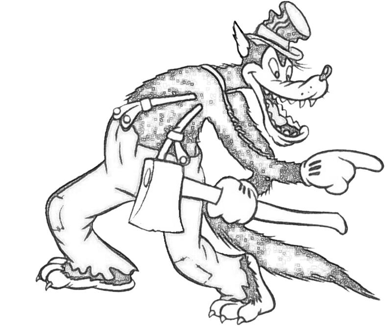 Big Bad Wolf Face Nintendo Wee Big Bad Wolf Coloring Page