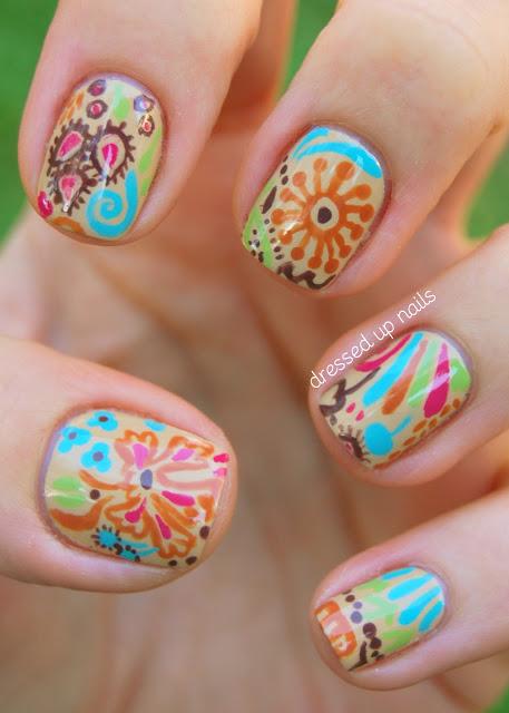 Fall floral nail art