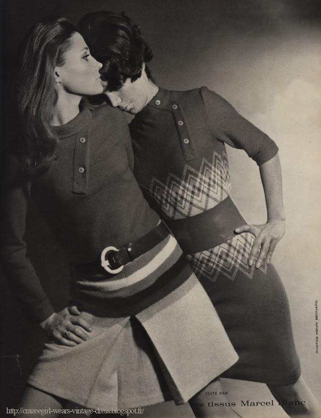 tissus Marcel Blanc - Louis Feraud - 1968 fabric dress 1960 60s mod