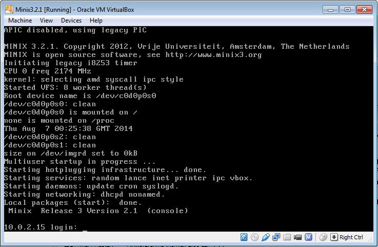 MINIX 3 login with network
