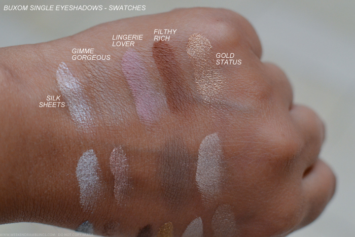 Buxom Eyeshadow Bar Single Eyeshadows Refills Swatches Silk Sheets Gimme Gorgeous Lingerie Lover Filthy Rich Gold Status