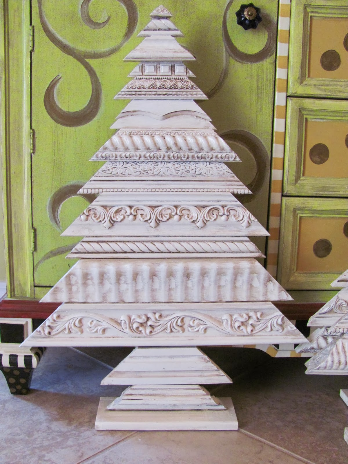 christmas tree made from picture and decorative molding