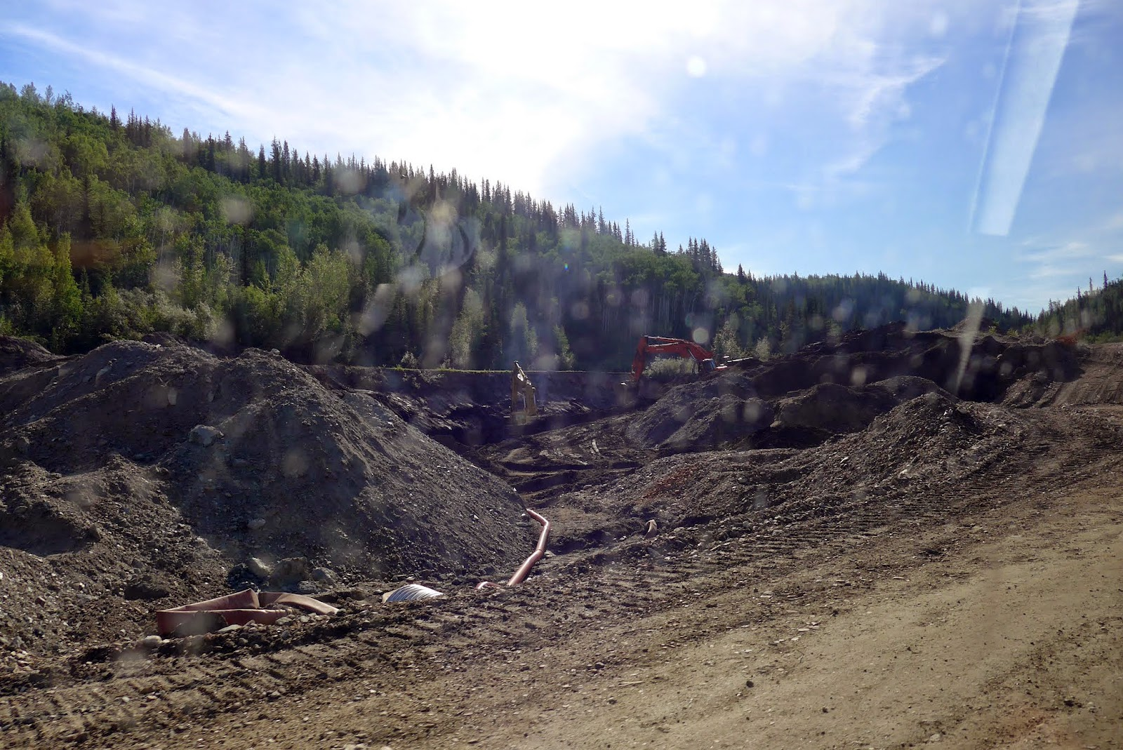 An active placer mining site.