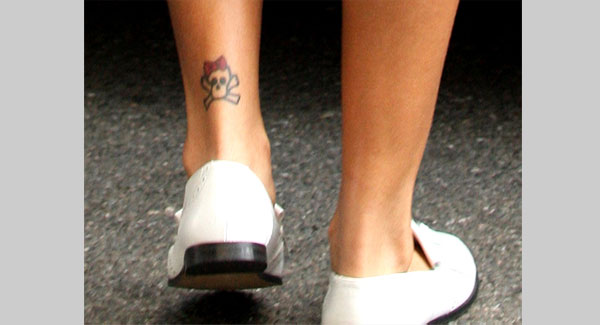 Rihanna Ankle Skull Tattoo