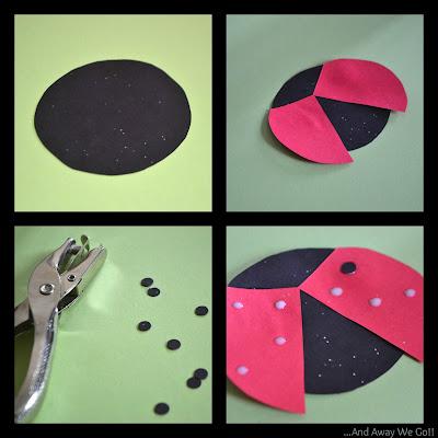 paper crafts, ladybug craft, making paper ladybugs