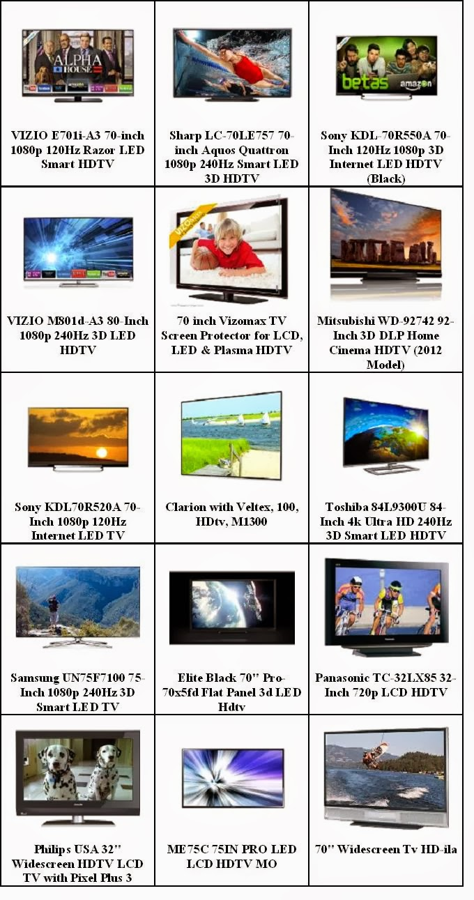 Best LED HDTVs Display Size 70 Inches & Up