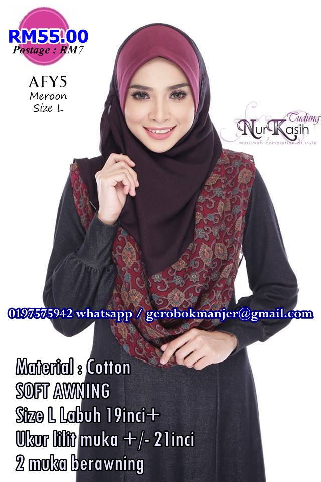 SHAWL INSTANT COTTON SOFT AWNING BERCORAK 2 MUKA