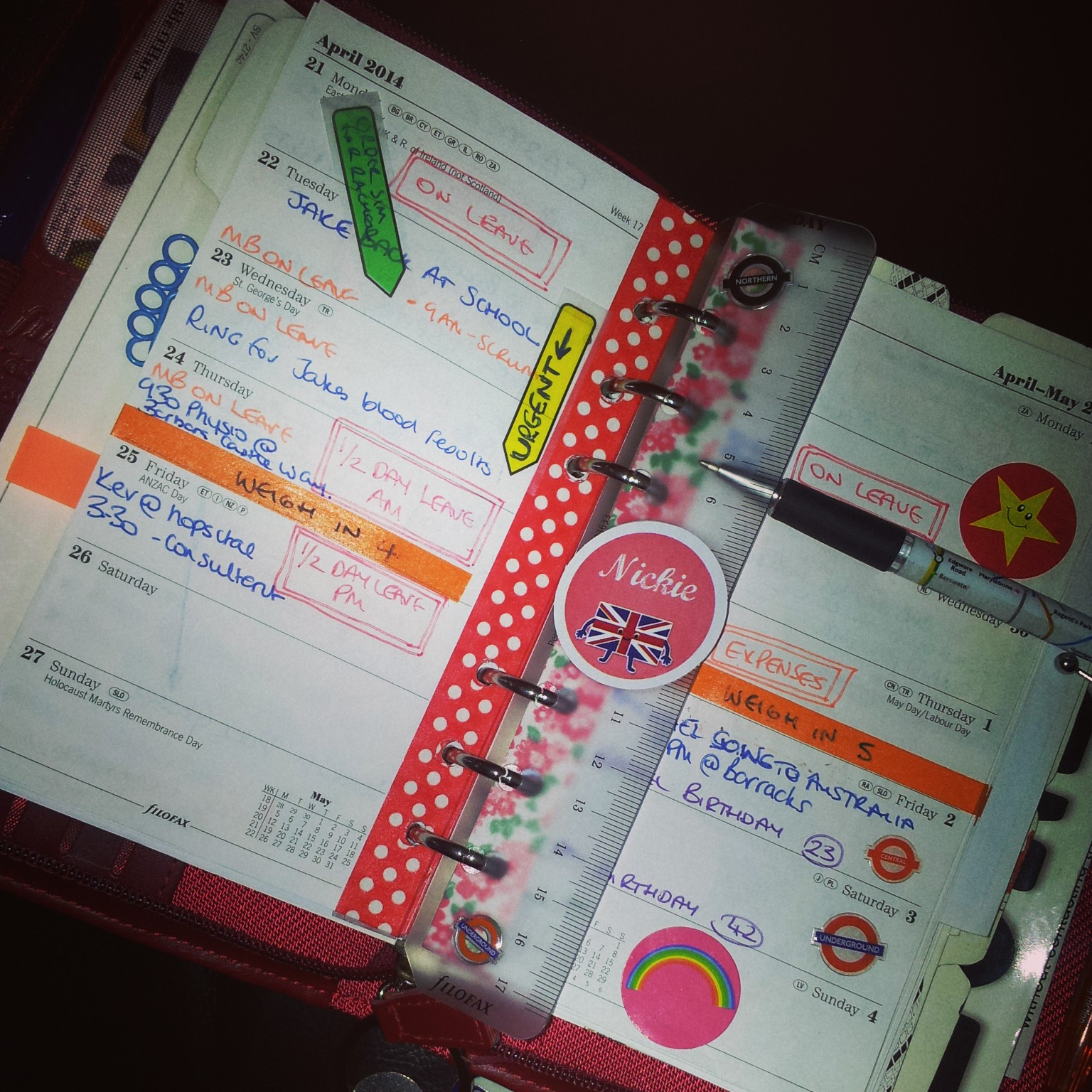 filofax, journalling, washi tape, stickers