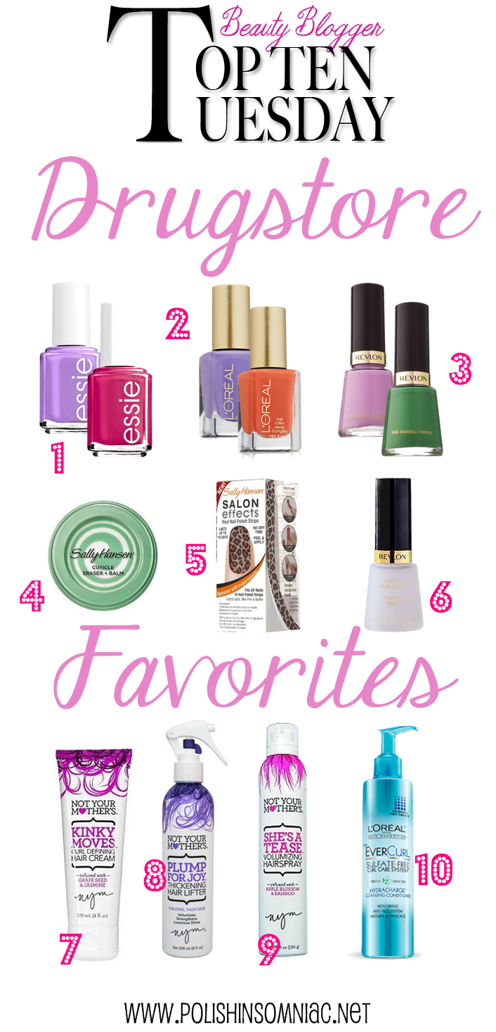 polish insomniac's Top Ten Tuesday Drugstore Favorites for Hair and Nails