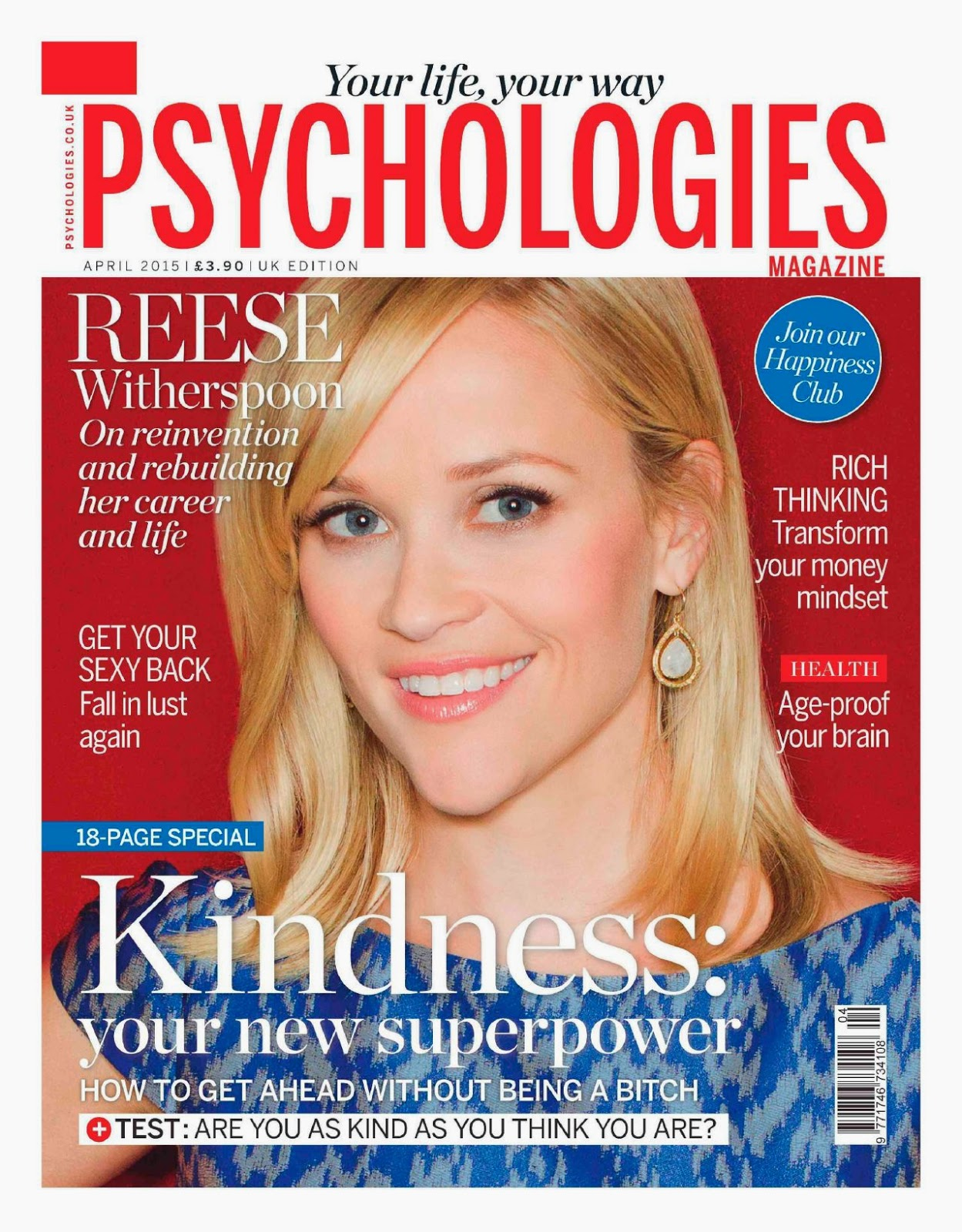 Actress, Singer: Reese Witherspoon - Psychologies UK April 2015