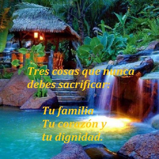 IMAGENES FRASES MOTIVADORAS: TRES COSAS QUE NUNCA DEBES SACRIFICAR: LA FAMILIA TU CORAZON Y TU DIGNIDAD