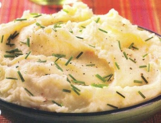 Picture Garlic Mashed Potatoes on white plate