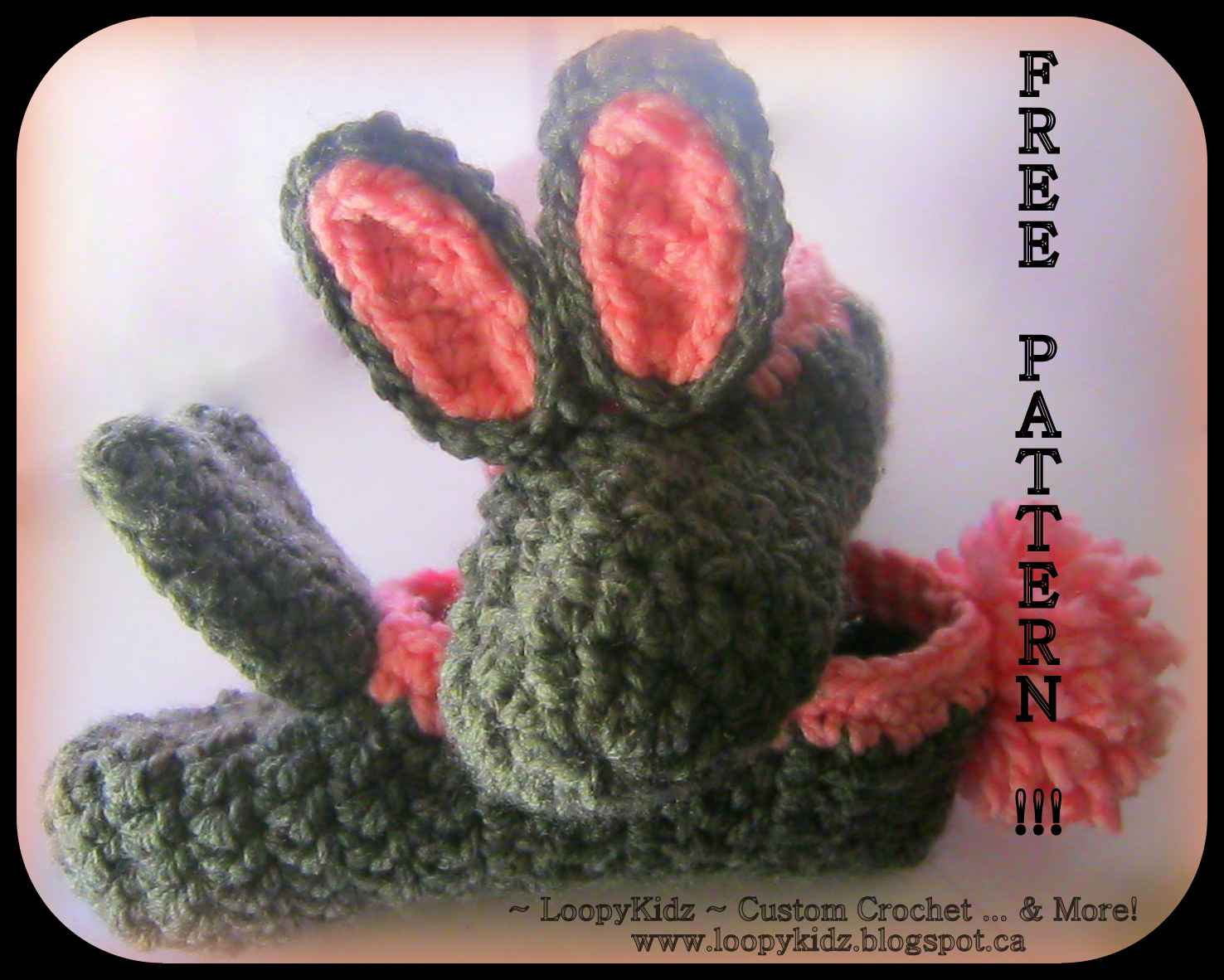 Free Crochet Pattern For Bunny Slippers : LoopyKidz: Super Simple Bunny Slippers FREE PATTERN!