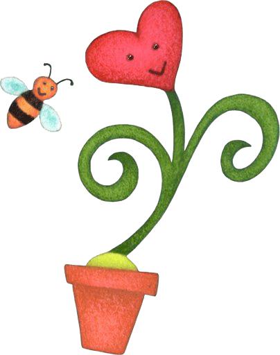 maceta con flor con corazon
