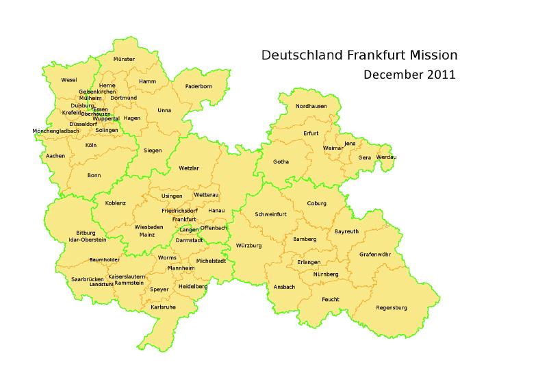Auserwählt zu Dienen: Germany Frankfurt Mission Map
