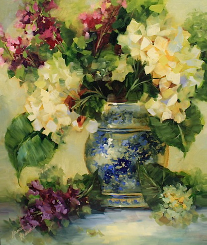 Nancy Medina Art Blue China Larkspur And Hydrangeas And A