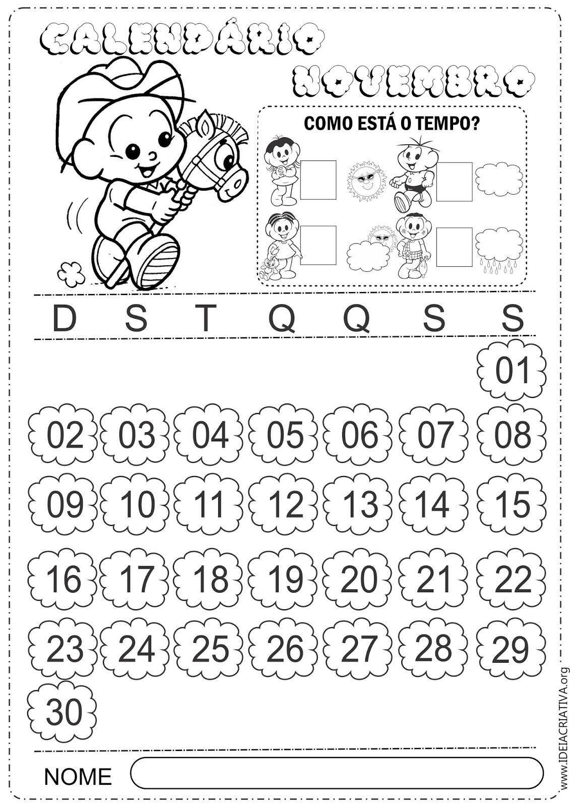 Calendários para Imprimir Turma da Mônica Baby Novembro 2014