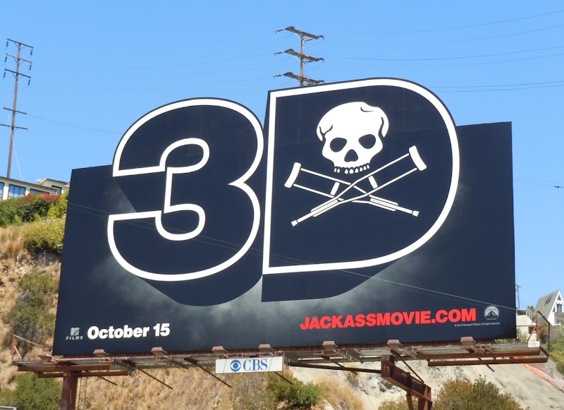 Jackass 3D movie teaser billboard
