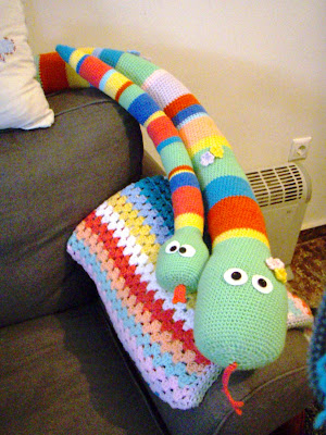 crochet baby snake toy funny stripes stuffed big and small