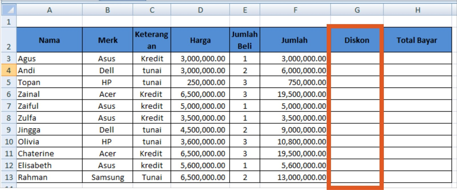 Soal Fungsi If Microsoft Excel 2007