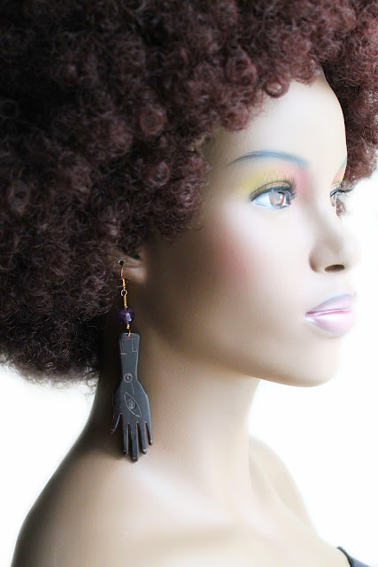 african hamsa hand bone earrings