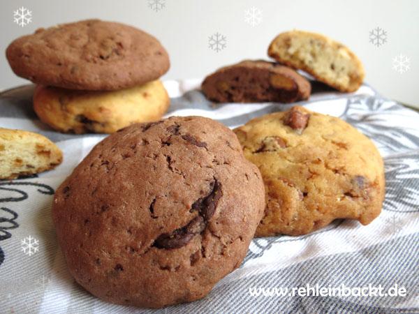 Zweierlei Cookies mit karamellisierten Nüssen