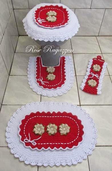 Jogos De Banheiro Vermelho E Branco : Rose ragazzon croch? jogo de banheiro babado duplo