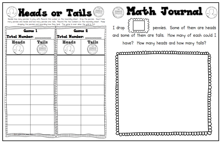 math worksheet : heads or tails math game freebie  first grade blue skies : Math Games Worksheet