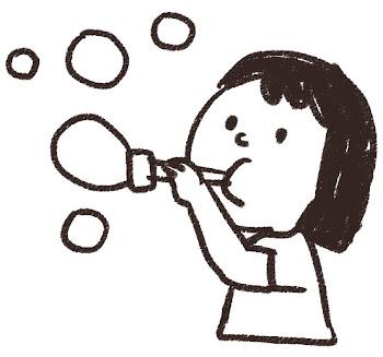 シャボン玉のイラスト 白黒線画