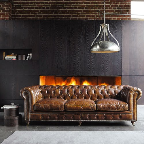 Classic Chesterfield Leather Sofa In A Modern Living Room