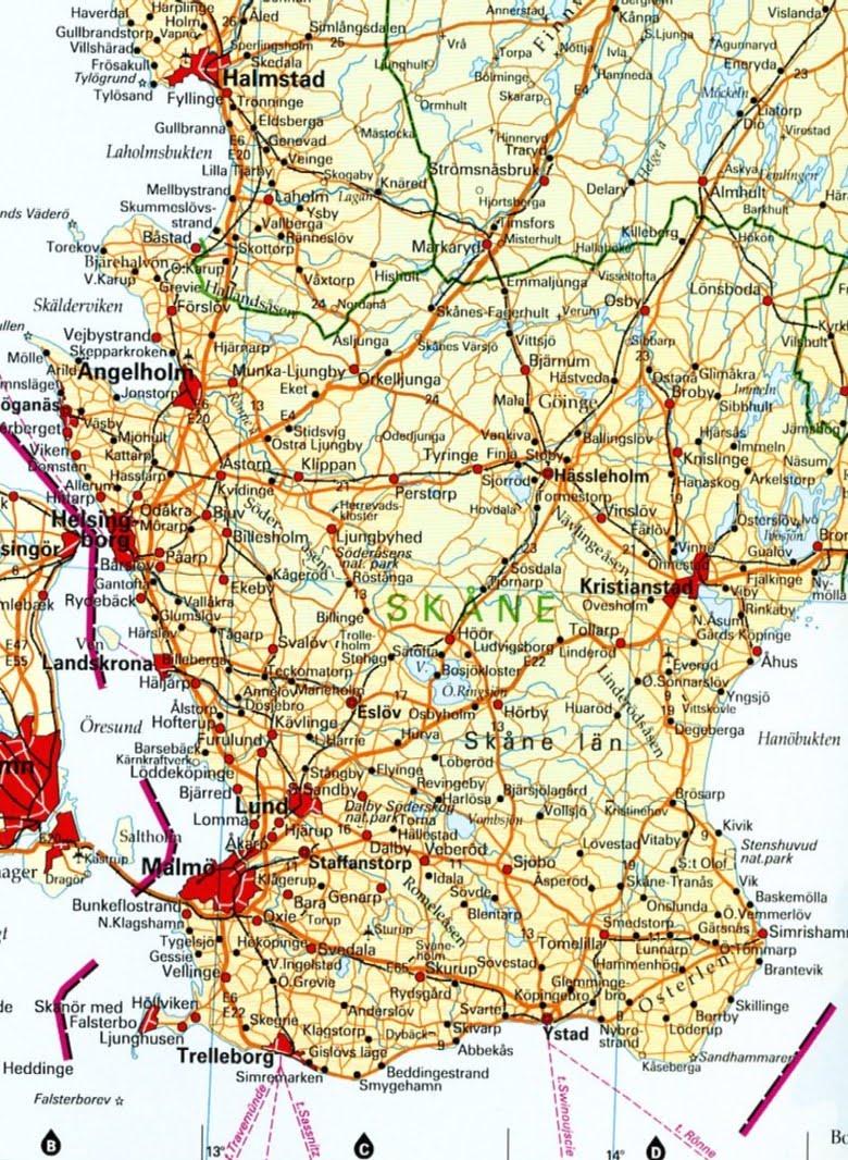 södra sverige karta