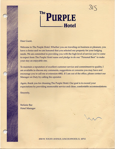 Pritzkers hyatt house hotel the purple hotel lincolnwood welcome letter from hotel manager stefanie bae thecheapjerseys Images