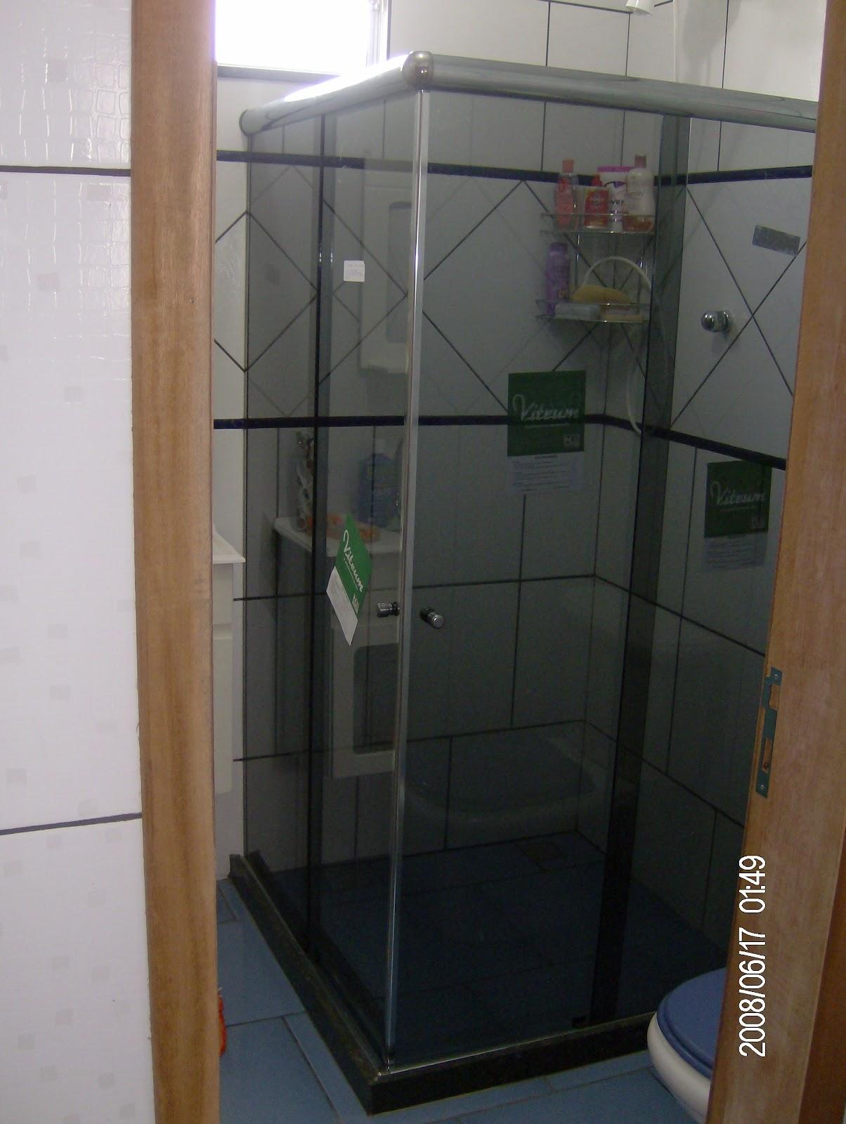 fosco box de canto incolor com preto box de canto fume com preto #684D36 1204x1600 Banheiro Com Box De Vidro Fume