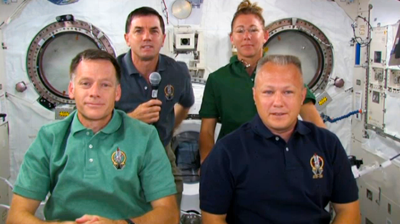 Atlantis – STS135 – The crew of Atlantis in an interview with the BBC before landing. BBC 2011.