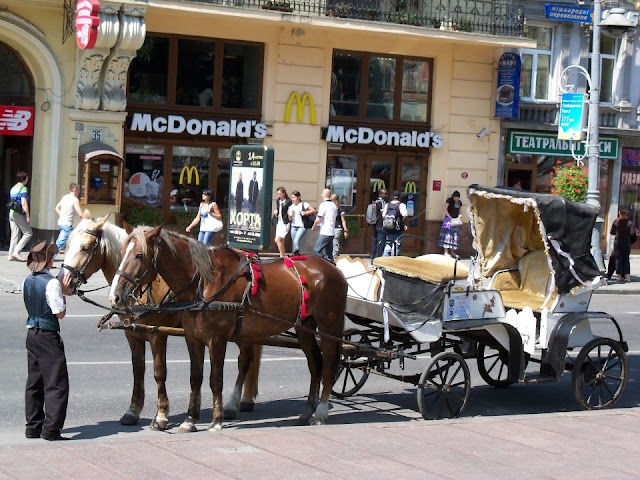 McDonalds and Horse and Buggy, Lviv, Ukraine