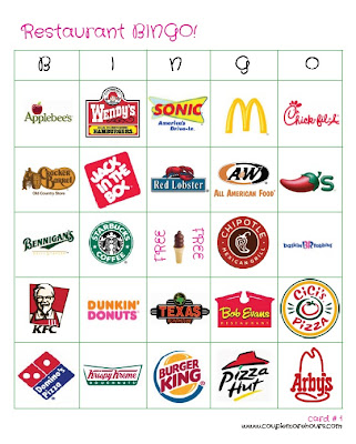 Restaurant logo bingo cards - free printable!