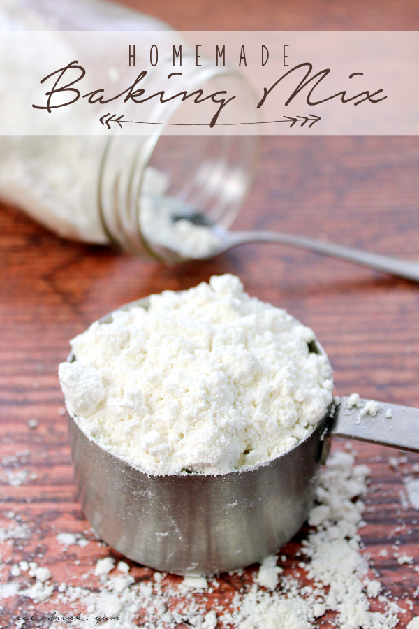Using common pantry ingredients, you can mix up a batch of this Homemade Baking Mix! It's great for biscuits, pancakes or anywhere you use the expensive yellow box stuff - but for a lot less money!