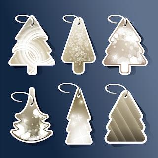 雪景色のクリスマス・ツリー タグ beautiful christmas tree tag イラスト素材