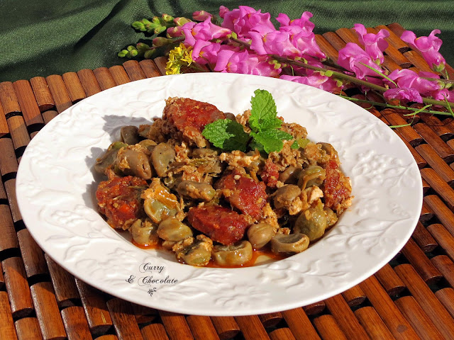 Habas con chorizo y huevo revuelto – Lima beans with Spanish chorizo and egg