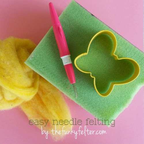 easy cookie cutter needle felted butterfly tutorial by the funky felter