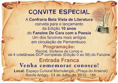 convite De Cara com a Poesia 10 anos.