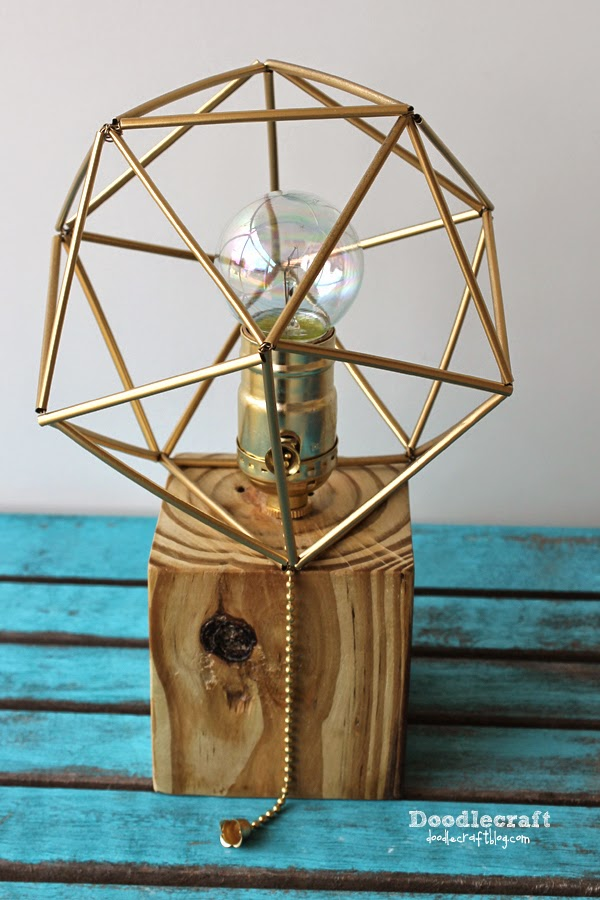 Doodlecraft reclaimed wood lamp with himmeli shade for Crafting wooden lamps